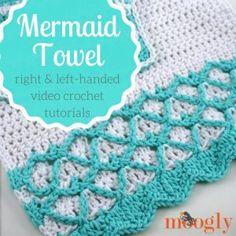 Mermaid Towel Tutorial - Right & Left-Handed Crochet Videos on Moogly Crochet Hood, Free Crochet, Crochet Projects, Crochet Tutorials, Video Tutorials, Mermaid Towel, Left Handed Crochet, Stitch Patterns, Crochet Patterns