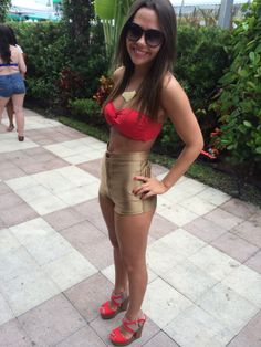 high waisted gold short for the winter music conference EDM outfit for the ultra festival nikki beach SOBE Miami