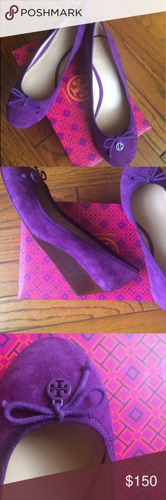 NWB Tory Butch Chelsea Suede 45 mm Wedges Round toe, brand new and authentic, sweet plum color, in Tory Butch box but the box is from a different shoe model Tory Burch Shoes Wedges