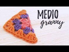 Cómo tejer MEDIO GRANNY SQUARE a crochet | tutorial PASO A PASO | Ahuyama Crochet - YouTube