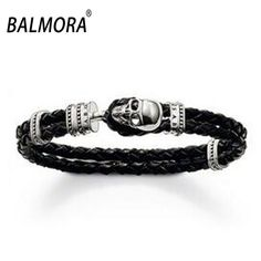 Fashion Punk Jewelry Men Male Handsome Skull Leather Bracelet Bangle Party Gifts Wholesale Free Shipping TH-213
