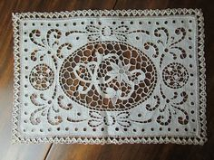 Antique Lace Doily Beautiful Old Handmade Cotton Size