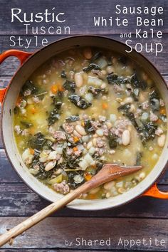 Rustic Tuscan-Style Sausage, White Bean, and Kale Soup. A healthy and hearty fall soup recipe! It's a great meal idea for lunch or dinner. White Bean Soup, White Beans, White Bean Sausage Soup, Sausage And Kale Soup, Chicken Sausage, Turkey Sausage, Italian Sausage Soup, Italian Bean Soup, Kale And Bean Soup