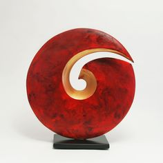 A simple form with great presence, this wheel-thrown ceramic sculpture is carved by hand and finished with vibrant red and metallic copper acrylic paint. Sealed with lacquer and mounted on a steel base with a powder-coated satin black finish. Wood Turning Projects, Wood Sculpture, Stone Sculptures, Modern Ceramics, Wooden Bowls, Unique Art, Glass Art, Glass Door, Design Art