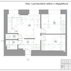 Очень важный вопрос, как переделать однокомнатную квартиру в двухкомнатную. ❓План мебели и расстановки оборудования для квартиры 47,7м2. Как видно перегородка между входным холлом и гостиной отделяет пространство, но в тоже время не создает лишнее замкнутое помещение в виде отдельного холла. Жилая комната справа была поделена на две зоны - спальня хозяев и детская. Так как детская преграждает естественный свет от окна в спальню, то было принято решение сделать световой проем между…