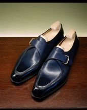 1157971a184 New Handmade Blue formal monk Shoes