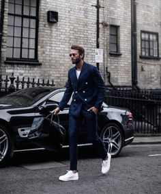 Navy Blue Double Breasted Suit With Sneakers for Men