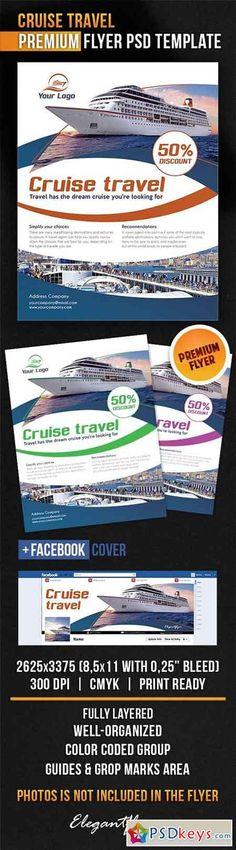 Cruise Travel Flyer PSD Template + Facebook Cover