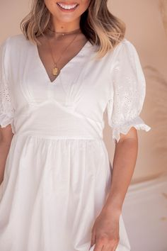 Whisper Eyelet Midi Dress   White- FINAL SALE – LLACIE Cream Midi Dress, White Midi Dress, Cotton Lawn Fabric, Scalloped Hem, Cold Shoulder Dress, Clothespins, Whisper, Final Sale, How To Wear