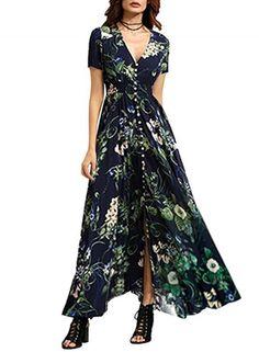 Boho V Neck High Waist front Slit Floral Maxi Dress