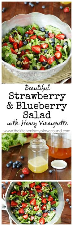 Strawberry, Blueberry & Greens Salad Recipevwith Honey Vinaigrette ~ as healthy and tasty as it is beautiful.