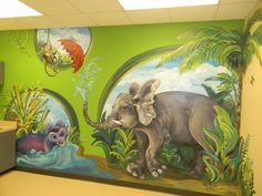 Pediatrician's office in Texas. (painted by Hope Casmer Overturf... my sister in law!!)  thevillagebrigade.com