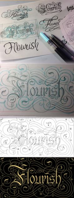 Flourish on Behance Calligraphy, Hand Lettering, Illustrated Lettering
