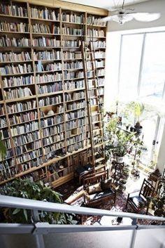 Droomboekenkast:  Ik droom ooit van zo'n boekenkast compleet met een ladder. Dat wil ik al jaren. Nu nog even wat meer boeken verzamelen (en een groter huis).