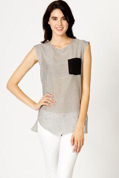 Sleeveless Striped Blouse | A-thread