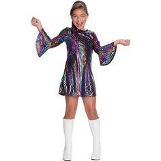 An Alluring Rainbow Swirl Disco Diva-Child Costume. Elegent range of Disco Costumes for Halloween at PartyBell. 1960s Costumes, Halloween Costumes, Halloween Party, Toddler Costumes, Costumes For Women, Children Costumes, Disco Costume, Fantasias Halloween, Disco Party