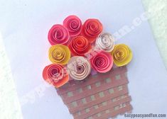 DIY Rolled Paper Roses Valentines Day or Mother's Day Card - Easy Peasy and Fun