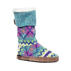 Women's MUK Luks Vanessa Slipper Boots - Blue ($40) ❤ liked on Polyvore featuring shoes, slippers, apparel, blue, footwear и slipper boots