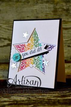 Stampin' Up!  ... handmade congratulations card from nice people STAMP! ... negative space die cut star fills the front ...  Bright and Beautiful filigre stamp colored with bright colored markers ... gorgeous card!!