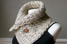 Classic adjustable neck warmer with button by AutumnBerryCrochet