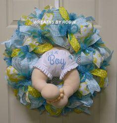 It's A Boy Baby Wreath Baby Boy Wreath Baby Butt by wreathsbyrobin Baby Boy Wreath, Baby Wreaths, Baby Shower Cakes, Baby Boy Shower, Baby Showers, Baby Tea, Baby Table, Welcome Baby Boys, Diaper Wreath