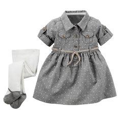 Baby Girl 2-Piece Flannel Shirt Dress & Tights Set | Carters.com
