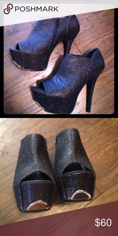 Bebe platform booties glitter Size 8. Worn Once, Black glitter booties with gold detail in front. Perfect for the holidays. bebe Shoes Heeled Boots
