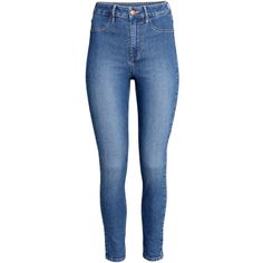 H&M Skinny High Ankle Jeans ($12) ❤ liked on Polyvore featuring jeans, bottoms, pants, denim blue, high waisted skinny jeans, high-waisted jeans, super high rise skinny jeans, short pants e highwaisted skinny jeans