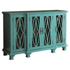 Featuring 4 glass doors with geometric overlay, this sophisticated wood cabinet is perfect for displaying cherished family photos or stowing your favorite re...