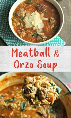 This soup is a take on the classic comfort food Spaghetti Orzo Soup, Spaghetti And Meatballs, Fat Foods, Turkey Meatballs, Chilis, Food Hacks, Food Processor Recipes, Meal Prep, Soups