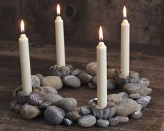 DIY Advent Wreath with Painted Rocks                                                                                                                                                                                 More