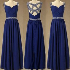 Beautiful Royal Blue Chiffon Handmade Prom Dress With Sequins, Prom Dresses 2016. Party Dresses, Evening Dresses 2016