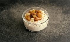 Coconut Cashew Millet Pudding with Chai Pear and Apricot Compote