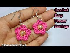 Flower Earrings, Crochet Earrings, Indian Designer Wear, Designer Earrings, Easy Crochet, Color, Colour, Single Crochet, Colors