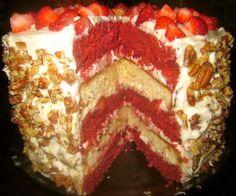 Haute + Heirloom: Red Velvet Strawberry Shortcake Layer Cake with Cream Cheese Frosting