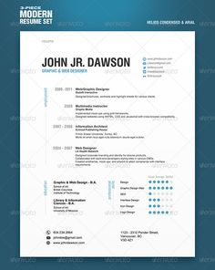 3-Seitiges Resume Template - #resume #template #graphicdesign #print #design