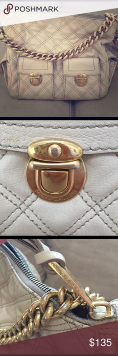 Authentic MARC JACOBS ivory leather quilted bag Retail: $1200. This leather bag is stunning and so rich looking!! It is in good condition- some minor stains on bottom of bag and some minor wear on the gold hardware (shown in pic). The inside lining of the bag on ONE side is coming un-done (shown in pic) but nothing that a tailor couldn't fix. Marc Jacobs Bags