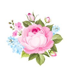 A spring decorative bouquet of roses flowers Vector Image Flower Frame, Flower Art, Paper Flower Arrangements, Foto Transfer, Floral Garland, Botanical Flowers, Decoupage Paper, Floral Border, Flower Backgrounds