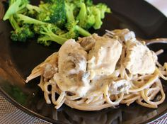 Makes 6 servings 2 chicken breasts (about 1 to 1 1/2 lbs), cut into bite-size chunks 2 Tbsp homemade Italian dressing seasoning (recipe below) 1 cup chicken broth 1 (4 oz) can mushrooms, drained or 4 oz fresh mushrooms, sliced 4 oz cream cheese 1/2 cup sour cream 3 Tbsp flour 8 oz cooked linguine …