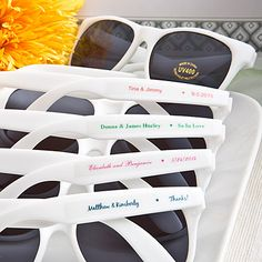 Personalized Sunglasses from FavorWarehouse.com! These are such a great summer wedding buy!! A̶v̶a̶i̶l̶a̶b̶l̶e̶ ̶M̶a̶y̶ ̶1̶8̶,̶ ̶2̶0̶1̶5̶.̶  Due to popular demand, we have sold out of the May 18th shipment. Existing orders should be covered with the exception of some of today's and yesterday's orders. Our next shipment is scheduled to arrive 7/1/15.  Available July 1, 2015.
