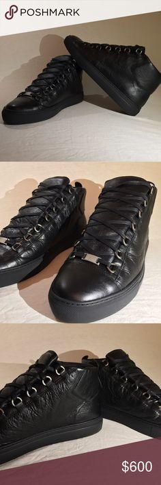 Balenciaga Black Arena High Sneakers Selling my Balenciaga arena high sneakers literally worn once, they are in perfect condition with box, dust, bag, receipt, and extra laces they are a U.K. 43 us 9.5/10 Balenciaga Shoes Sneakers