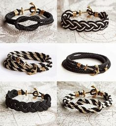 Giving away 6 samples from the newest, highly anticipated Black Pearl Cord Collection 2 weeks before Launch. These were handcrafted by designer KJP. Ankle Bracelets, Beaded Bracelets, Anchor Bracelets, Rope Bracelets, Paracord Bracelets, Jewelry Crafts, Handmade Jewelry, Armband Diy, Bijoux Diy