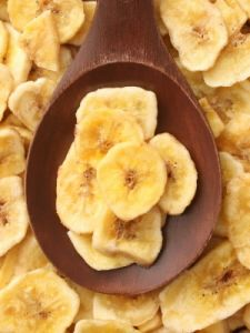 Banana chips - just slice bananas and put them in the oven at 200F for two hours, flip and leave for another hour or until golden. take them out to dry and they will turn crispy. Yummy.