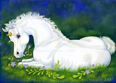 ACEO Unicorn White Horse Fantasy Foal Limited by DeLaRenaissance