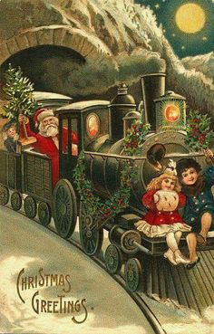 "Shop ""Santa on a Train"" Vintage Christmas Postcard created by PrimeVintage. Personalize it with photos & text or purchase as is! Vintage Christmas Images, Victorian Christmas, Retro Christmas, Vintage Holiday, Christmas Pictures, Christmas Art, Christmas Greetings, Christmas Train, Christmas Express"