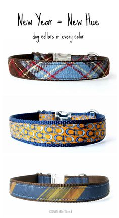 Blue dog collars for boys. Unique fabric dog collars for male dogs.