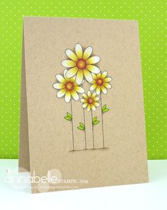 handmade card ... kraft with colored pencils ... adorable daisies on a one-layer card ...