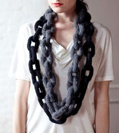 Knitted chain scarf