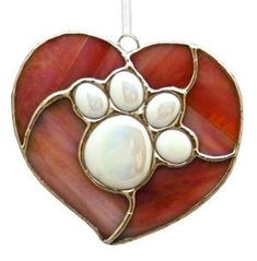 Beginner Stained Glass Patterns -paw print on heart Stained Glass Patterns Free, Stained Glass Designs, Stained Glass Panels, Stained Glass Art, Mosaic Glass, Fused Glass, Stained Glass Ornaments, Stained Glass Christmas, Stained Glass Suncatchers