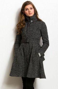 Armani Exchange A|X Women's Peplum Tweed Wool Flare Coat/Jacket